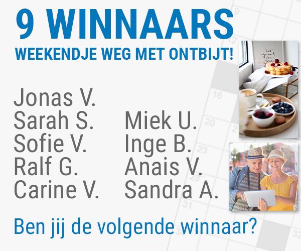 Deze winnaars mogen een gratis weekendje weg dankzij Puzzelclub.be!